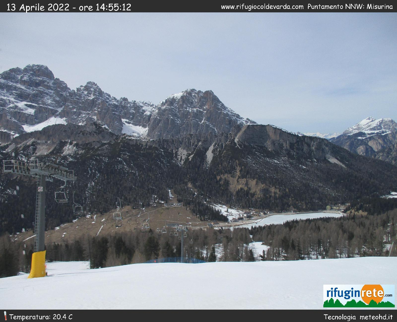 Rifugio Coldevarda puntamento Misurina webcam